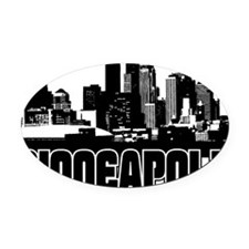 Minneapolis Skyline Oval Car Magnet