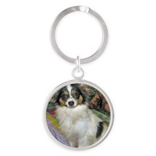 papillon_tri_color Round Keychain