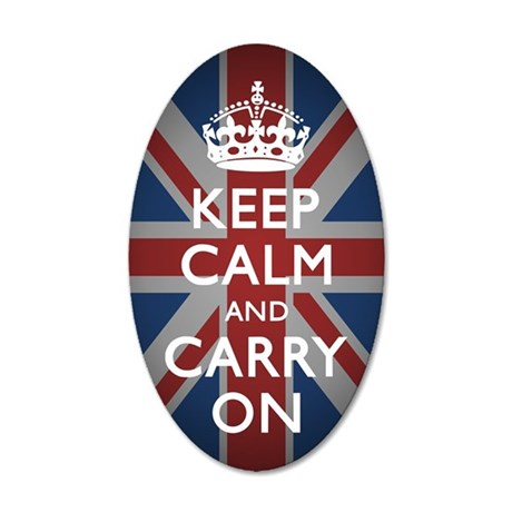Keep Calm and Carry On 35x21 Oval Wall Decal