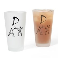 D Fencing Black Drinking Glass