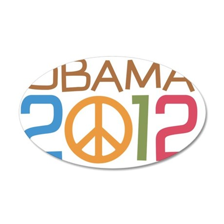 Obama Peace Sign 35x21 Oval Wall Decal