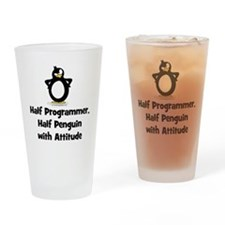 Half Programmer Half Penguin with A Drinking Glass