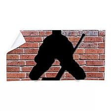Hockey Goalie Brick Wall Beach Towel