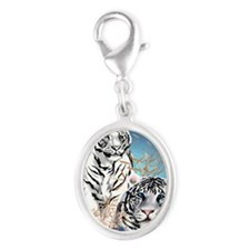 White Tigers _pillow Silver Oval Charm