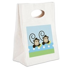 Silly Twin Monkeys Canvas Lunch Tote