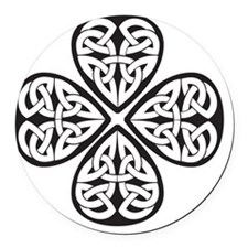 black shamrock celtic knot Round Car Magnet