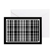Black and White Plaid Greeting Cards