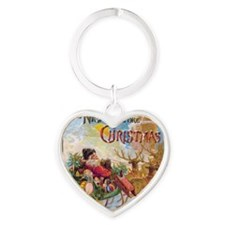 Vintage Christmas The Night Before  Heart Keychain