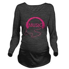Music Headphones Long Sleeve Maternity T-Shirt