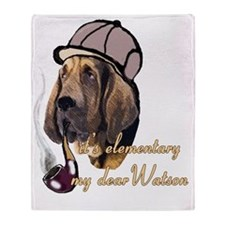 bloodhound with detective hat Throw Blanket