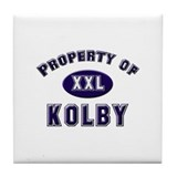 Property of kolby Tile Coaster