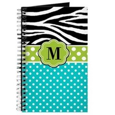 Zebra Blue Green Monogram Journal