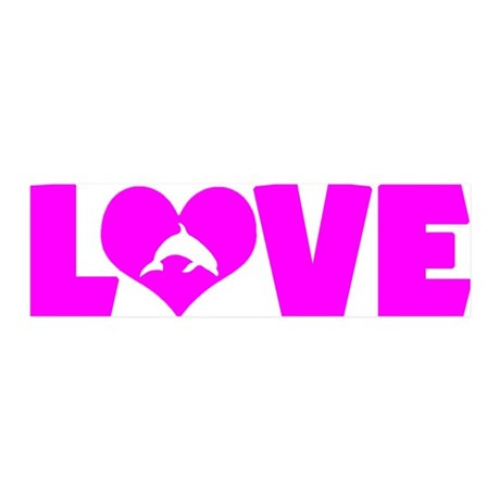 pinklove-dolphin 20x6 Wall Decal