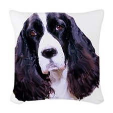 english springer spaniel Woven Throw Pillow