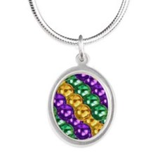 MGbeadsPatn443iphone Silver Oval Necklace