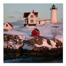"Nubble Light Tile Square Car Magnet 3"" x 3"""