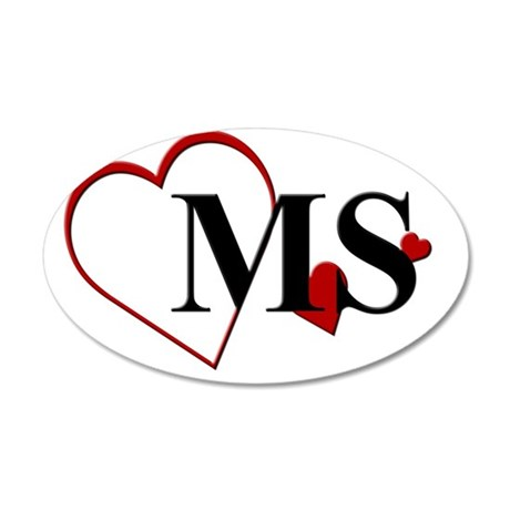 MS Mississippi Heart 35x21 Oval Wall Decal