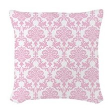 Pink Damask Woven Throw Pillow