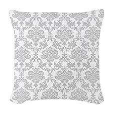 Gray Damask Woven Throw Pillow
