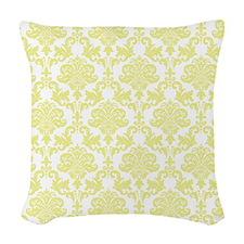 Yellow Damask Woven Throw Pillow