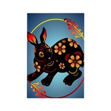 Black Designed Rabbit 441_iphone_ Rectangle Magnet