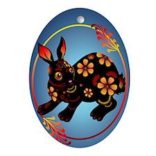 Black Designed Rabbit 441_iphone_cas Oval Ornament
