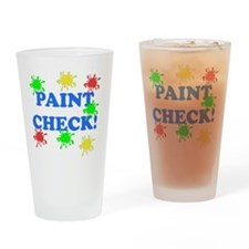 Paint Check Blue Drinking Glass