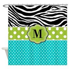 Blue Green Zebra Monogram Shower Curtain