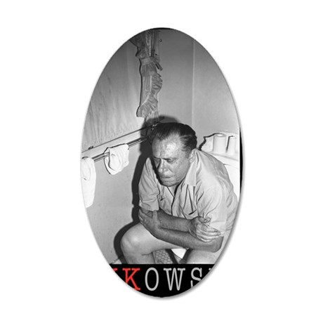 BUKOWSKI ON THE CAN BY SAM C 35x21 Oval Wall Decal