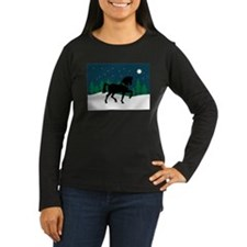 Black Horse Starry Night Long Sleeve T-Shirt