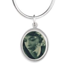 Lillian Gish 1921 Silver Oval Necklace