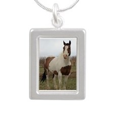 Paint horse,2 Silver Portrait Necklace