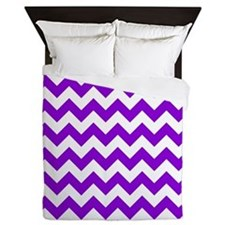 Purple Chevron Pattern Queen Duvet