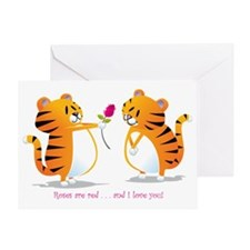 two tigers roseLove Greeting Card
