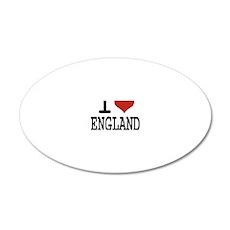 I LOVE ENGLAND 20x12 Oval Wall Decal
