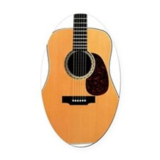 Acoustic Guitar Oval Car Magnet