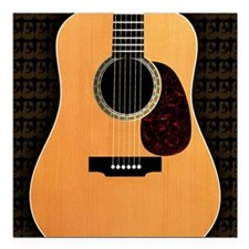 "acoustic-guitar-framed p Square Car Magnet 3"" x 3"""