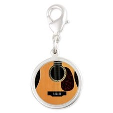 acoustic-guitar-framed panel p Silver Round Charm