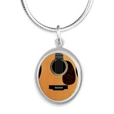 acoustic-guitar-framed panel  Silver Oval Necklace