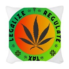 legalize regulate tax round Woven Throw Pillow