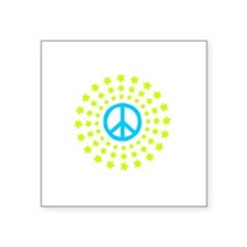 "Peace Burst Color Square Sticker 3"" x 3"""