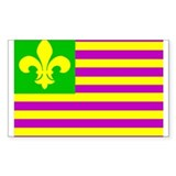 Mardi Gras Flag Rectangle Decal