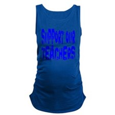 Support our teachers blue font Maternity Tank Top