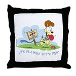 Odie walk in the Park Throw Pillow