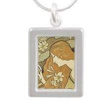 cpearringsANredheadClose Silver Portrait Necklace