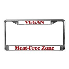 Vegan, Meat-Free Zone (Red) License Plate Frame
