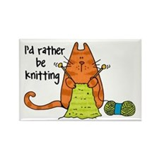 Rather be knitting Rectangle Magnet