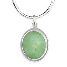 ShamrockInsideCardP Silver Oval Necklace
