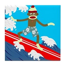 Sock Monkey Longboard Surfer Tile Coaster