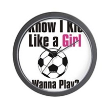kick like girl Wall Clock